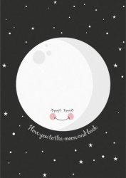 ansichtkaart moon black