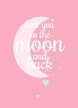 ansichtkaart love you to the moon pink
