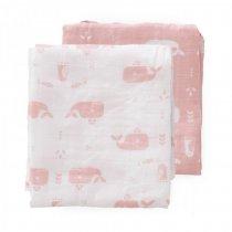 Fresk set van 2 swaddle 70x60 cm roze walvissen