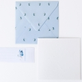 wenskaart heel veel hartjes met blauwe envelop