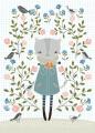 Flora Waycott ansichtkaart flower cat