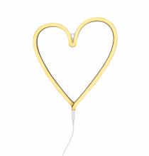 neon stijl hart lamp geel