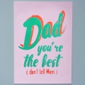 neon fun kaart dad you are the best