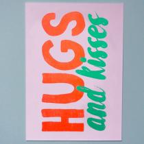 neon fun kaart hugs and kisses