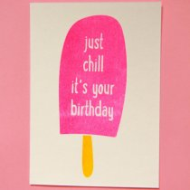 neon fun kaart just chill its your birthday