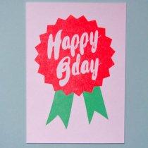 neon fun kaart happy B day