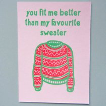 neon fun kaart you fit me better than my favourite sweater