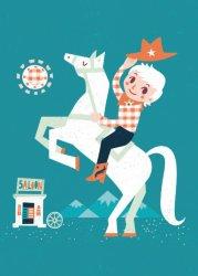 Irene Chan ansichtkaart cowboy