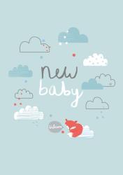 ansichtkaart new baby blauw