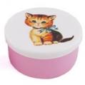 snackboxje poes (blauwe strik) roze 7x5 cm