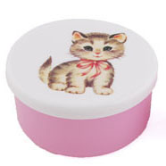 snackboxje poes (roze strik) roze 7x5 cm