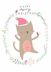 ansichtkaart christmas cat